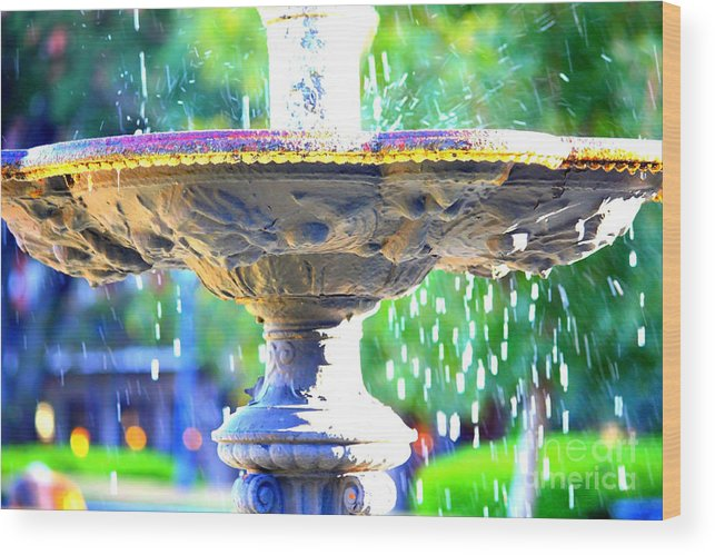 New Orleans Wood Print featuring the photograph Colorful New Orleans Fountain by Carol Groenen