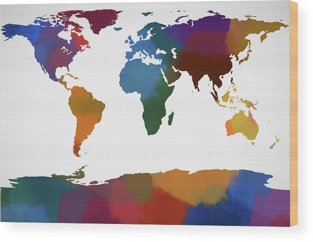 World Map In Color Wood Print featuring the painting Colorful World Map by Dan Sproul