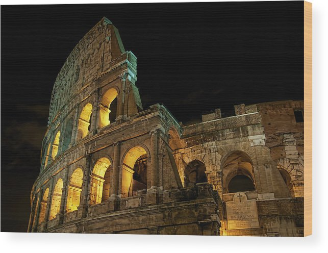 Colosseum Wood Print featuring the photograph Colosseum At Night by Nancy Morgantini