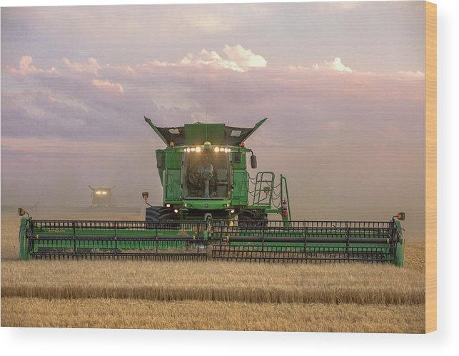 Combine Wood Print featuring the photograph Combine Head On by Todd Klassy