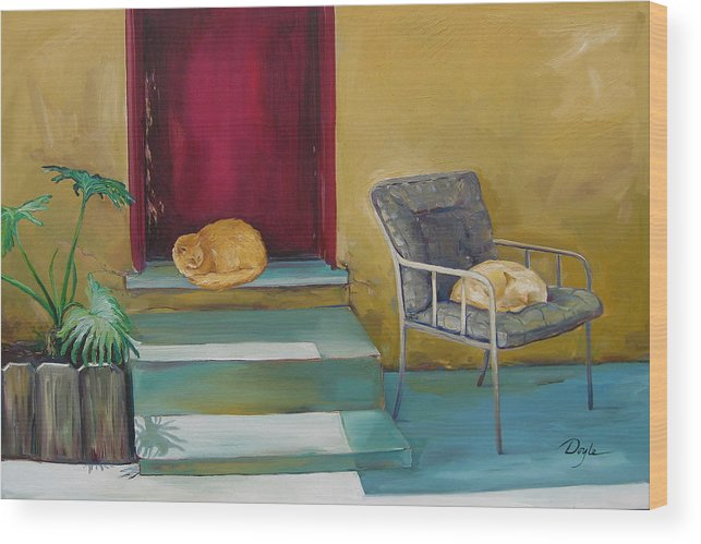 Cat Wood Print featuring the painting Companions by Karen Doyle
