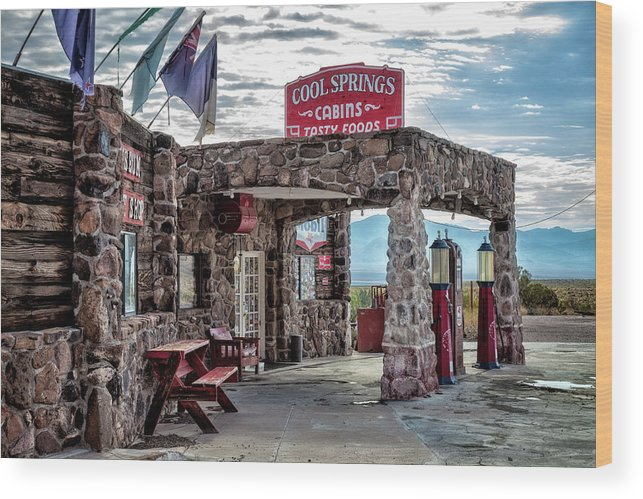 122 Curves From Oatman Wood Print featuring the photograph Cool Springs Az by Diana Powell