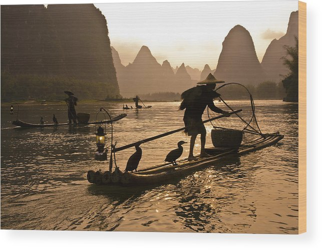 Asia Wood Print featuring the photograph Cormorant Fishermen At Sunset by Michele Burgess