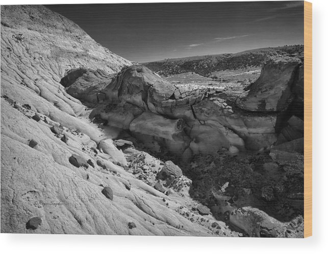 Beautiful Photos Wood Print featuring the photograph Cottonwood Creek Strange Rocks 7 Bw by Roger Snyder