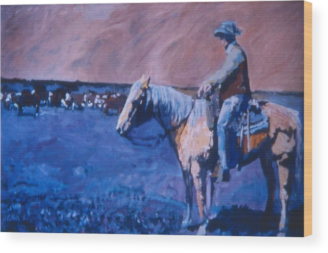 Cowboy Wood Print featuring the painting Cowboy Contemplation by Randy Patton