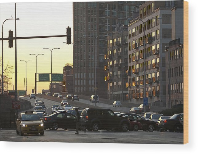 Chciago Wood Print featuring the photograph Crazy Traffic by Sven Brogren