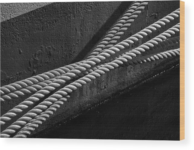 Rope Mooring Dock Line Ship Boat Water River Hull Paint Ropes Wood Print featuring the photograph Crossed Ropes by William Haney