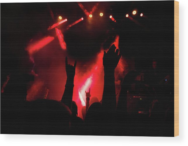 Concert Wood Print featuring the pyrography Crowd At A Rock Concert by Evgeniy Anikeev