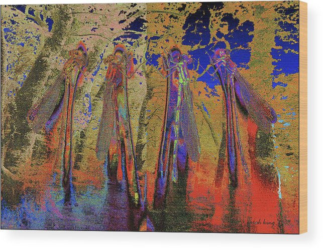 Landscape Wood Print featuring the painting Damsel Fly In The Burning Rainforest by Sarah King
