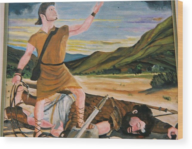 Biblical Wood Print featuring the painting David And Goliath by Desenclos Patrick