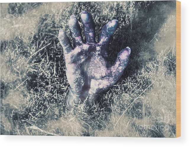 Horror Wood Print featuring the photograph Decaying Zombie Hand Emerging From Ground by Jorgo Photography - Wall Art Gallery