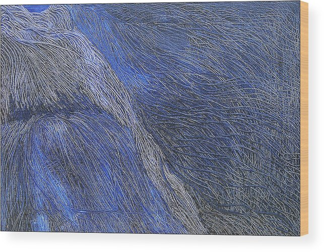 Abstract Wood Print featuring the painting Deep Blue by Prakash Bal Joshi