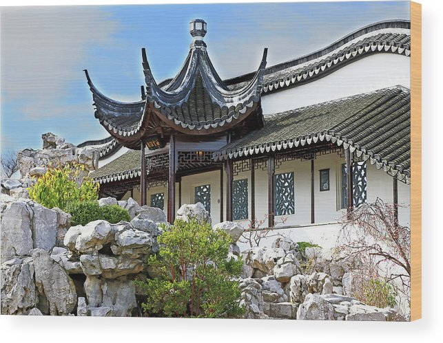 Chinese Wood Print featuring the photograph Detail Chinese Garden With Rocks. by Nareeta Martin