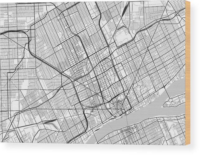 Detroit In Usa Map.Detroit Michigan Usa Light Map Wood Print By Jurq Studio