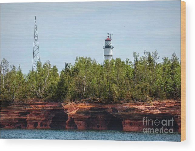 Wisconsin; Lake Superior; Devils Island; Apostle Islands; Sea Caves; Ashland County; Devils Island Lighthouse; Apostle Islands National Park; Apostle Islands National Lakeshore Wood Print featuring the photograph Devils Island Apostle Islands Lighthouse by Nikki Vig