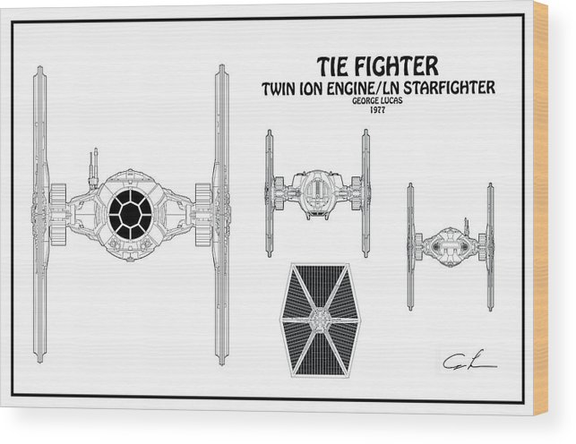 Diagram Illustration For The Tie Fighter From Star Wars Wood Print on