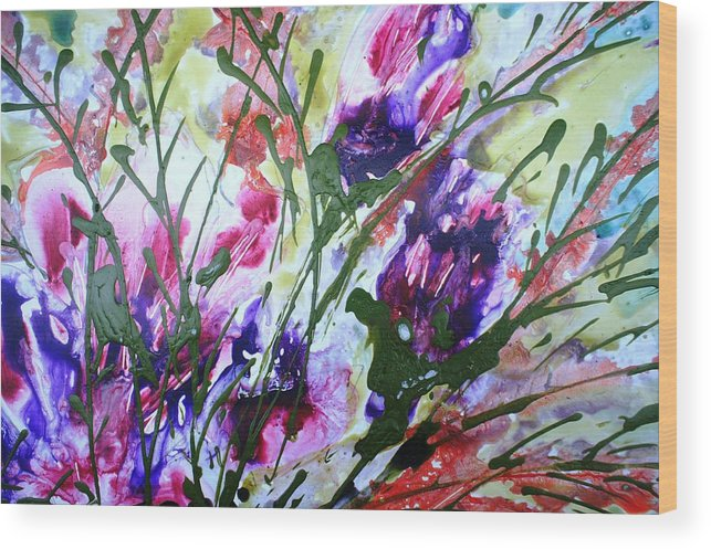 Flowers Wood Print featuring the painting Divine Blooms-21176 by Baljit Chadha