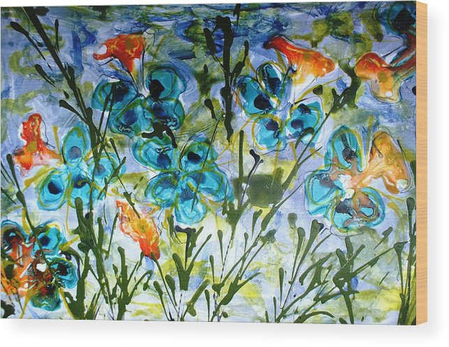 Flowers Wood Print featuring the painting Divine Blooms-21180 by Baljit Chadha