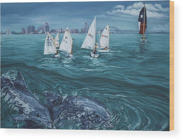 Dolphins Wood Print featuring the painting Dolphins In Corpus Christi Bay by Diann Baggett