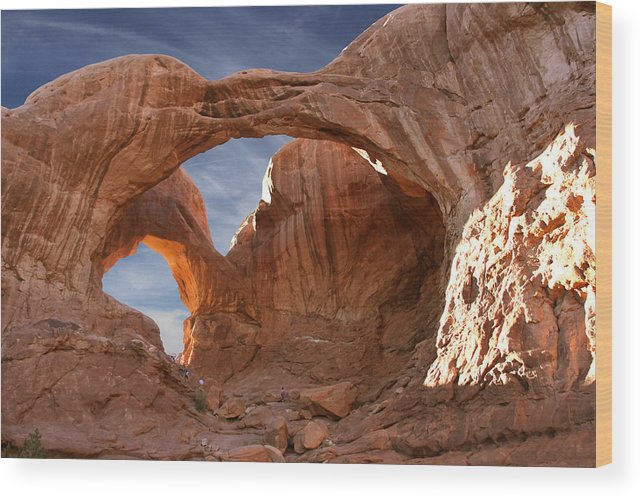 Desert Wood Print featuring the photograph Double Arch In Late Afternoon by Mike McGlothlen