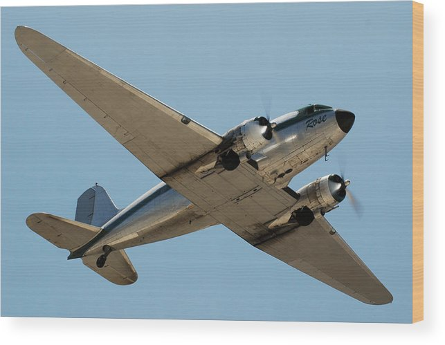 Airplane Wood Print featuring the photograph Douglas Dc-3 Rose At Hawthorne by Brian Lockett