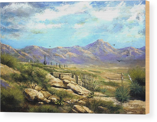 Landscape Wood Print featuring the painting Down Sedona Way by Brooke Lyman