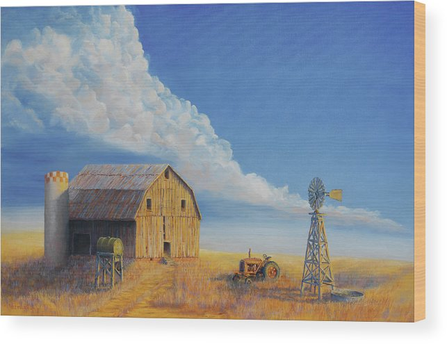 Barn Wood Print featuring the painting Downtown Wyoming by Jerry McElroy
