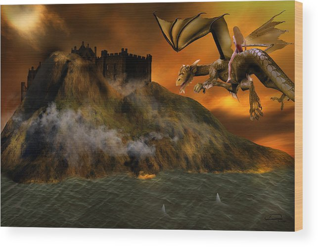 Fantasy Wood Print featuring the painting Dragons Return To Lost Island by Emma Alvarez