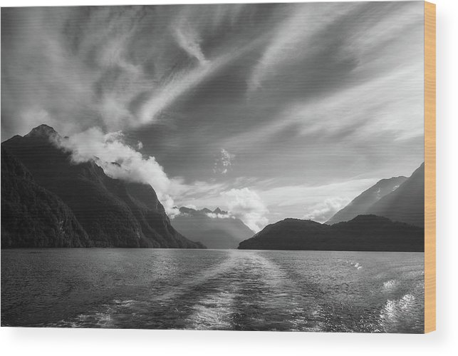 Doubtful Sound Wood Print featuring the photograph Dramatic Clouds And Alpine Scenery At Lake Manapouri by Daniela Constantinescu