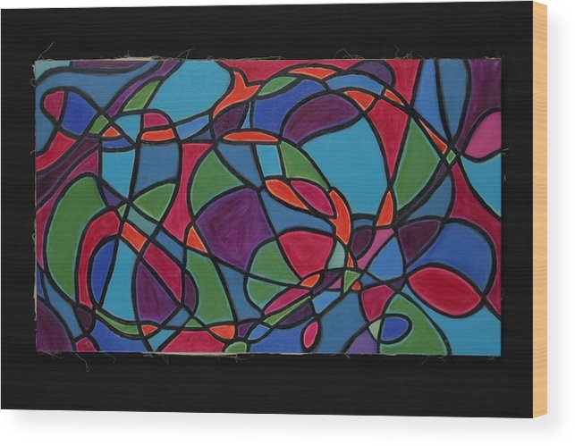 Abstract Wood Print featuring the painting Dreaming Of Matisse by Mary Silver