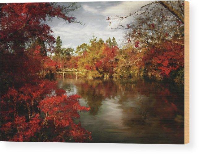 Dreamy Autumn Impressionism Wood Print featuring the painting Dreamy Autumn Impressionism by Georgiana Romanovna