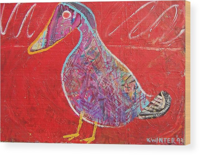 Duck Bird Red Wood Print featuring the mixed media Duck by Dave Kwinter