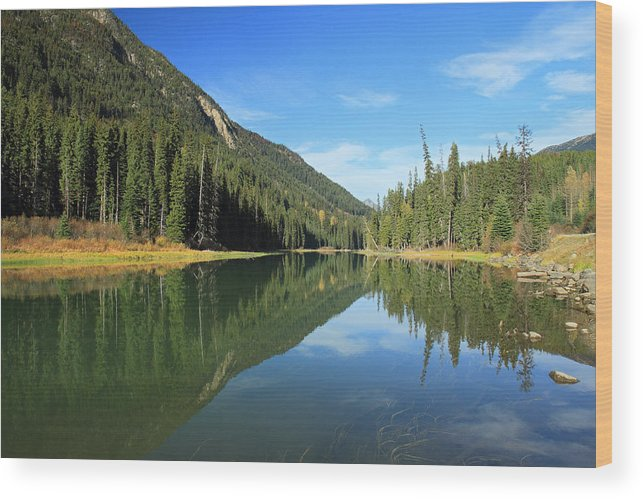 Duffey Wood Print featuring the photograph Duffey Lake Reflection In Autumn by Pierre Leclerc Photography