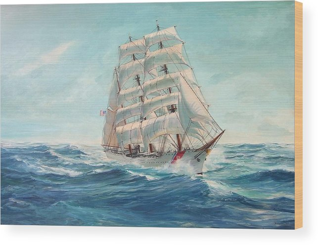 Coast Guard Training Ship - Eagle Newport Wood Print featuring the painting Sailing Eagle by Perrys Fine Art