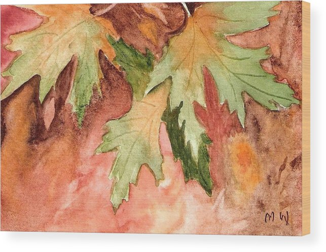 Autumn Fall Leaves Painting Green Gold Orange Yellow Red Watercolor Wood Print featuring the painting Early Autumn by Marsha Woods