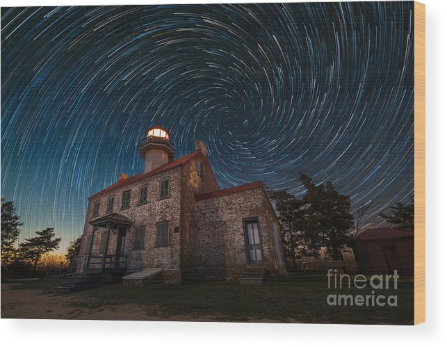 East Point Light Vortex Spiral Star Trails Wood Print featuring the photograph East Point Light Vortex Star Trails by Michael Ver Sprill