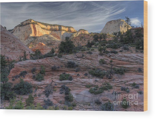 Hdr Wood Print featuring the photograph East Zion Canyon Sunrise by Sandra Bronstein