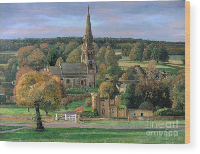 Peak District; Pig; Countryside; English Landscape; Architecture; Church; Village; Estate; Landscape; Chatsworth; Edensor; Chatsworth Park; Tree; Trees; Man Sitting On Bench Wood Print featuring the painting Edensor - Chatsworth Park - Derbyshire by Trevor Neal