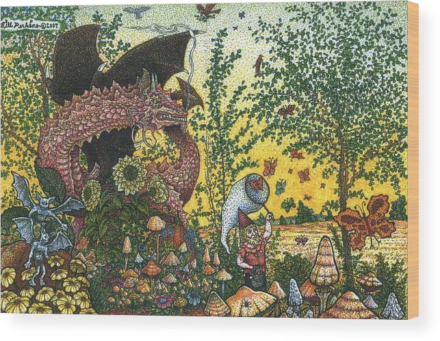 Dragon Wood Print featuring the drawing Edge Of The Fairy Ring by Bill Perkins