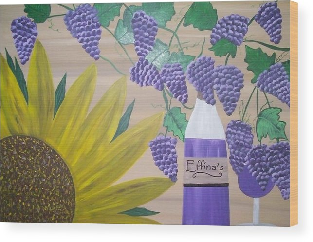 Sunflowers Wood Print featuring the painting Effinas In Tuscany by Paula Ferguson