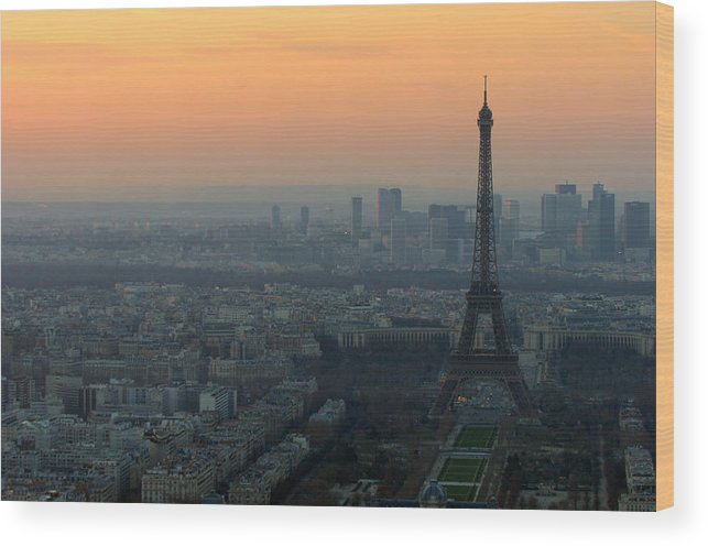 Eiffel Wood Print featuring the photograph Eiffel Tower At Dusk by Sebastian Musial