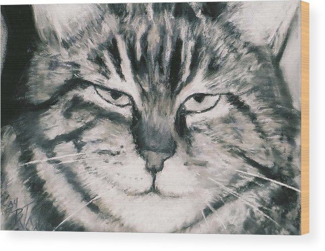 Close Up Of Tabby Cat Wood Print featuring the painting El Gato by Billie Colson