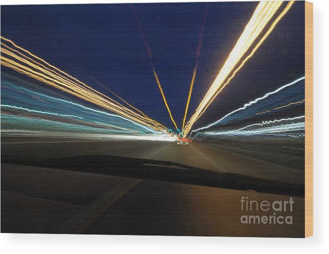 Lights Wood Print featuring the photograph Electric Blue by Miguel Celis