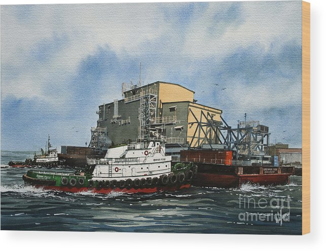 Tugs Wood Print featuring the painting Emma Foss Barge Assist by James Williamson