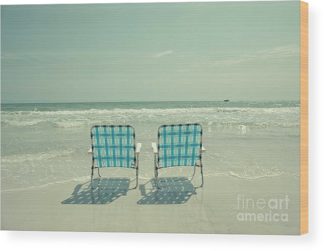 Chair Wood Print featuring the photograph Empty Beach Chairs by Edward Fielding