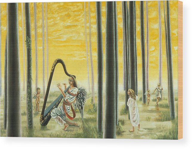 Landscape Wood Print featuring the painting Enchanted Forest by Gloria Cigolini-DePietro