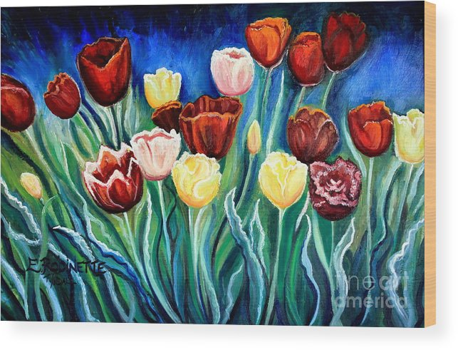 Tulips Wood Print featuring the painting Enchanted Tulips by Elizabeth Robinette Tyndall