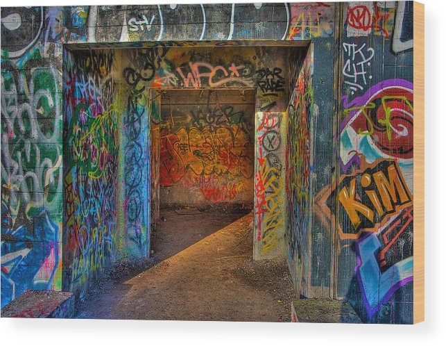 Graffiti Wood Print featuring the photograph Entrance To The Asylum by William Wetmore
