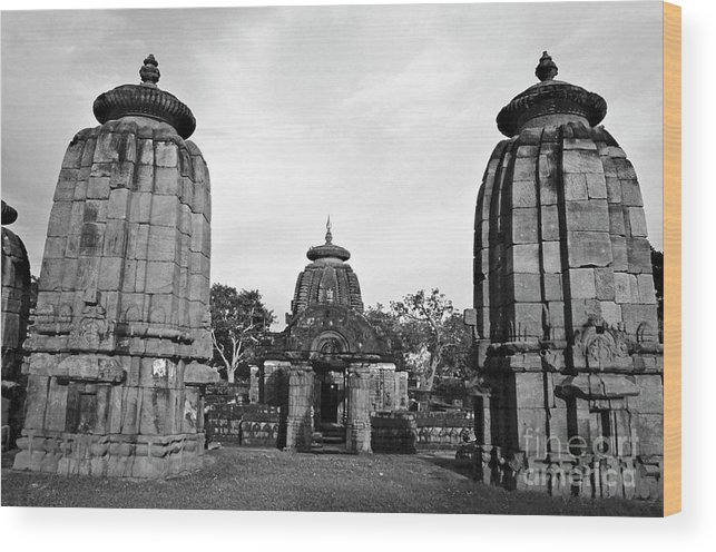 Architectural Wood Print featuring the photograph Entrance To The Mukteswar Temple In Bhubaneswar India by Sami Sarkis