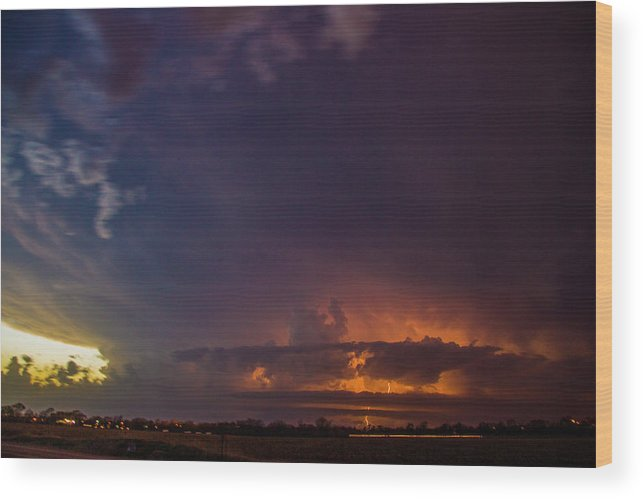 Nebraskasc Wood Print featuring the photograph Epic Nebraska Lightning 002 by NebraskaSC